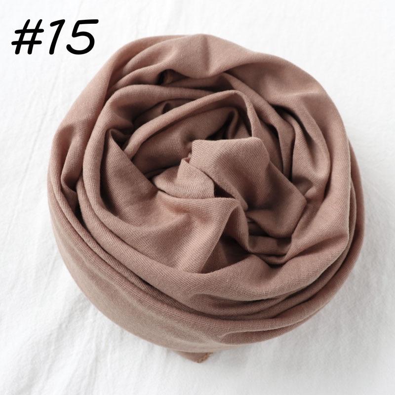 Один кусок Хиджаб Женский вискозный Джерси-шарф Мусульманский Исламский сплошной простой Джерси хиджабы Макси шарфы мягкие шали 70x160 см - Цвет: 15 khaki