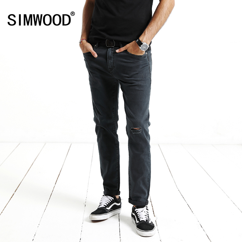 SIMWOOD Brand Jeans Men 2018 Spring New Fashion Jeans Men Denim Wash Hole Ripped Trousers Slim Fit High Quality NC017055 black navy m xxl quality 2017 spring new arrival ripped jeans for men fashion brand men jeans slim fit jeans men jx01