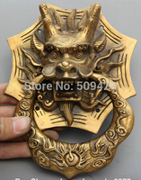 SCY Old Chinese Fengshui Bronze Foo Dog Dragon Kylin Door Holder Gate Knockers
