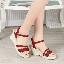 2019 Summer Sandals Women Peep Toe Breathable Beach Sandals Rome Buckle Strap Casual Female Wedges Shoes  Buty Damskie Sandalias