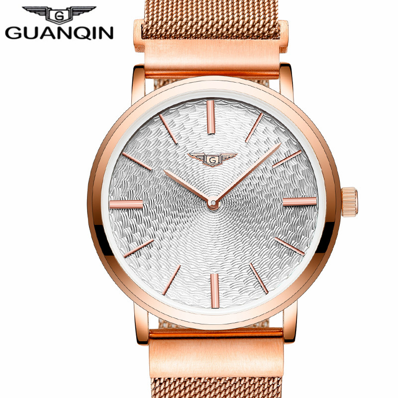 ФОТО Guanqin brand Fashion simple stylish Top Luxury Watches men Stainless Steel Mesh strap band Quartz-watch thin Dial Clock man