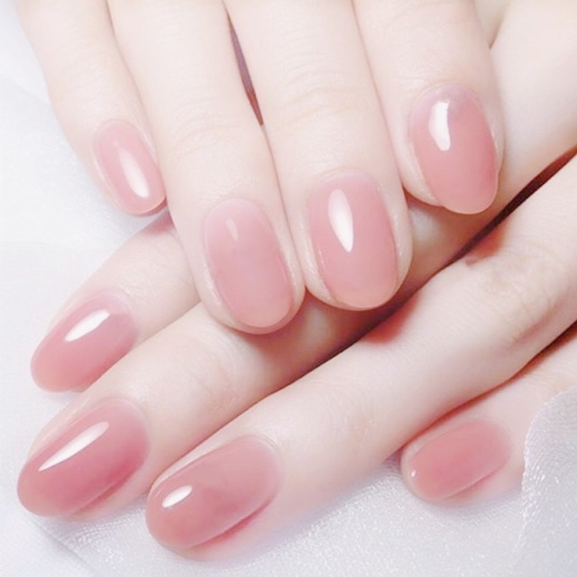 24pcs Clear Pink Color False Nails Jelly Pink Nails Short Round Head