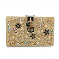 Italy brand gold  Acrylic Ballot lock  luxury handbag evening bag clutch  for party purse (C162)