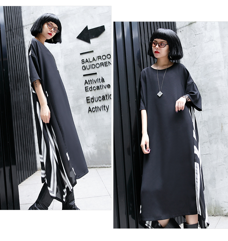Oversized Women Short Sleeve Back Striped Chiffon Dresses Ladies Fashion Streetwear Hip Hop Punk Gothic Loose Plus Size Dress in Dresses from Women 39 s Clothing