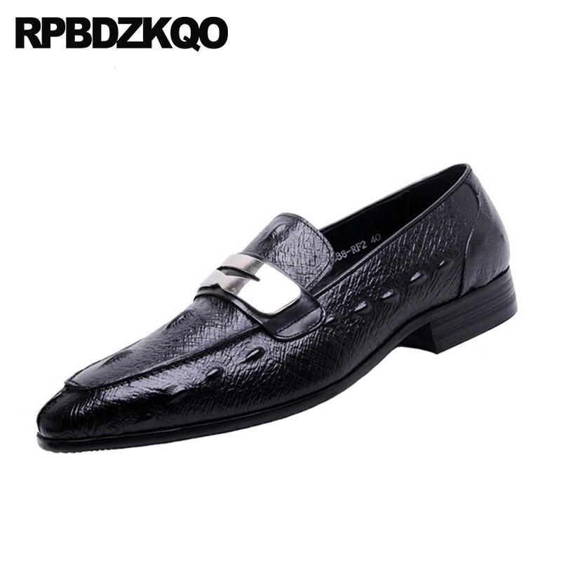 Brown Aus Schwarz Handmade Echtem Büro Alligator Italienische light Männer Schuhe Leder Müßiggänger Braun Europäischen Italien Metall Spitz Krokodil Kleid Schwarzes qx5XR1XH