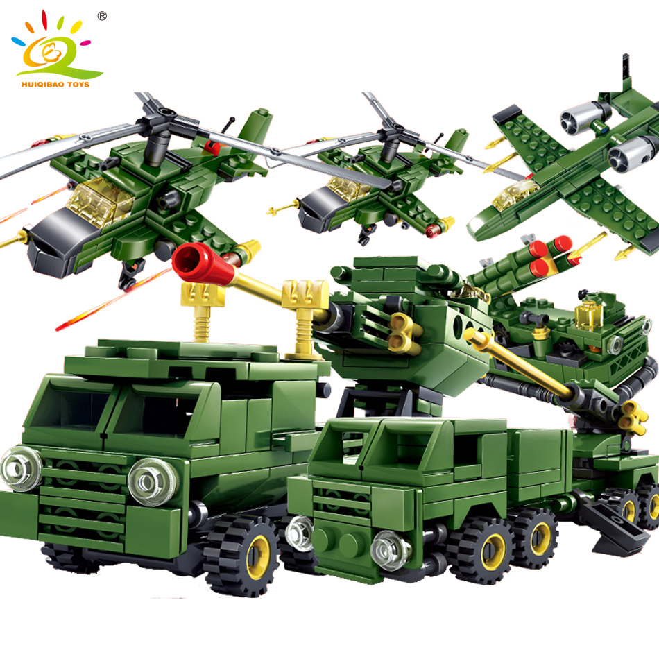 6pcs military series helicapter Truck building blocks Compatible Legoed army soldier weapons bricks figures toy for children boy qunlong military 8in1 829pcs 8 figures building blocks compatible legoed tank warship army war toys for children constructor set