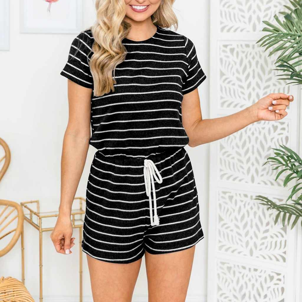 Womail Overalls For Womens 2019 Zomer Beach Short Sleeve Striped Jumpsuit Ladies Summer Mini Playsuit Shorts  Rompers Jun08