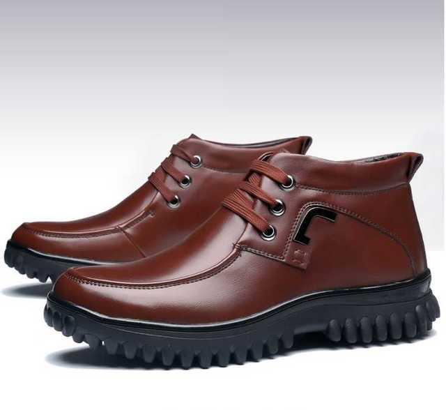 Botas para hombre Casuales Para Hombre Calzado de Invierno Zapatos de Cuero Genuinos Calientes Botas de Nieve de Lana de Cachemira Homme Chaussure Sapato masculino