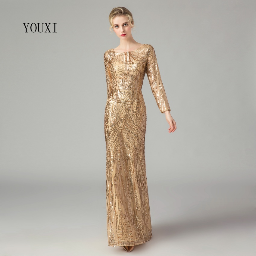 Gorgeous Gold Sequin   Evening     Dresses   2019 New Arrival Long Sleeves Sequined Formal Long Prom   Dress
