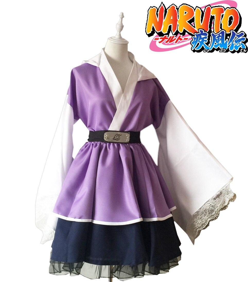 Naruto Shippuden Hyuga Hinata Lolita Kimono Dress Cosplay Costume цена