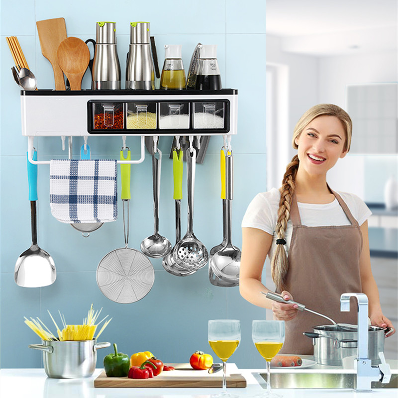 High-quality Multifunctional Kitchen Shelf wall-mounted Knife Storage rack Kitchenware Seasoning Shelves Kitchen accessories multi function kitchen shelves space aluminum shelf storage organizer kitchen accessories kitchen knife holder