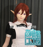(KM11122) Super Quality Handmade Female Resin Half Face Long Ears Elf Mask Cosplay Kigurumi Mask Crossdresser Doll