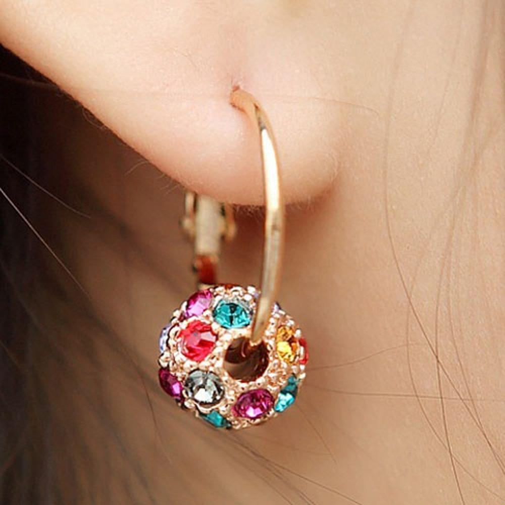 Circle Loop Earring Fashion Big Round Rhinestone Crystal Ear Hoop Earrings Large arbobs Eardrop Women Jewelry Pendientes