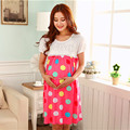 Pink Casual Dress Summer Maternity Wear For Pregnant Nursing Clothes For Pregnancy Breast Feeding Clothing TSP305