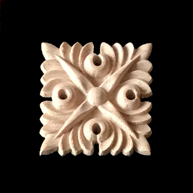 5CM 6CM Natural Wood Appliques Square Flower Carving Decals Decorative  Wooden Mouldings For Cabinet Door Furniture