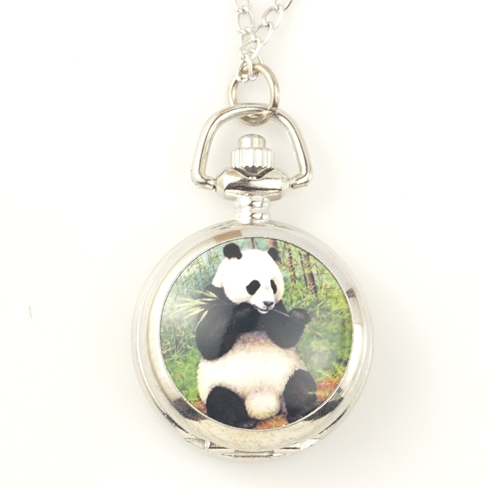 Lovely Panda Pocket Watches FOB Watches Men Women Gift With Chain High Quality Pendant Nacklace Free Shipping