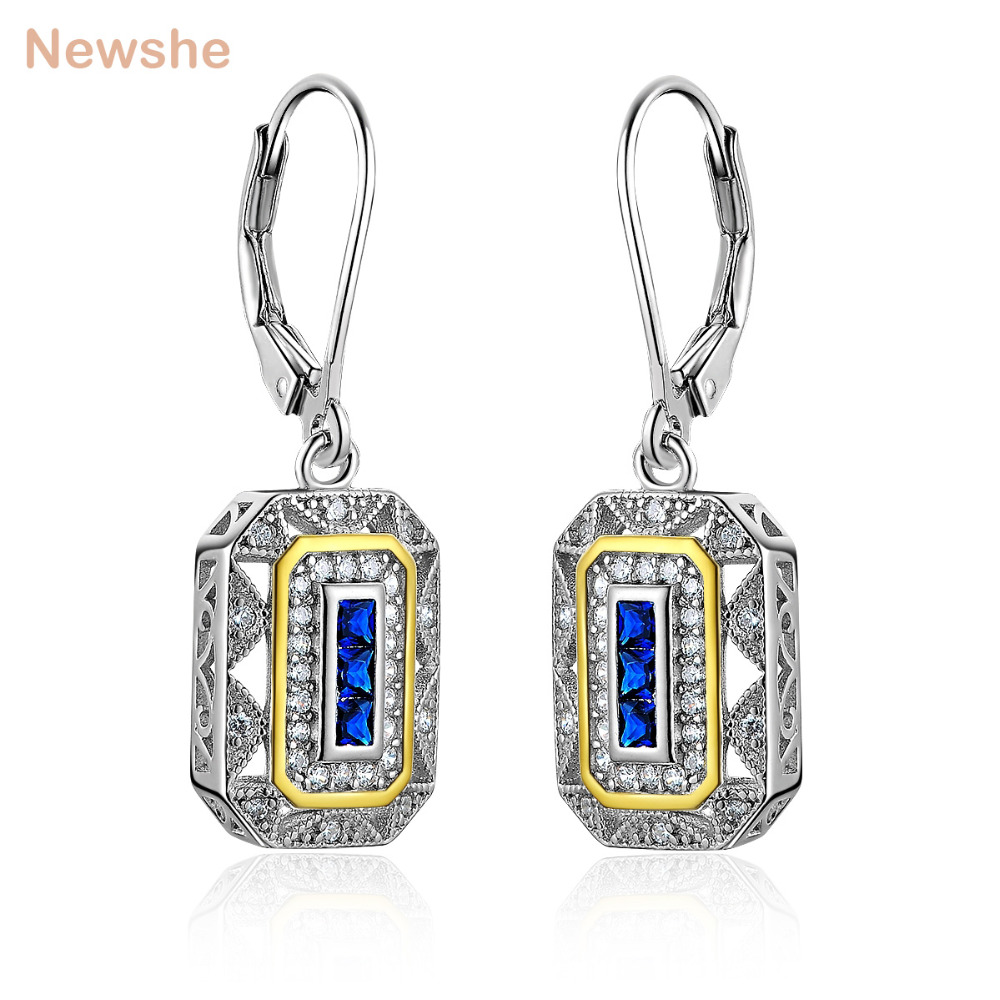 Newshe Blue CZ White & Gold Color Plated Solid 925 Sterling Silver Drop Earrings Classic Jewelry For Women JE1581