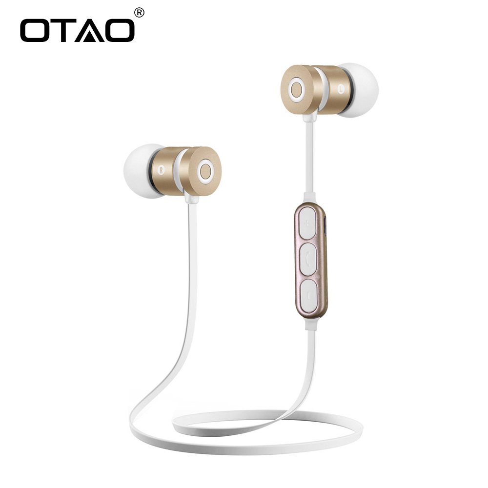 OTAO Wireless Bluetooth Headphone Metal Magnetic Stereo Earphone For Phone Neckband Sports SweatProof Headset Bluetooth V 4.2 цена