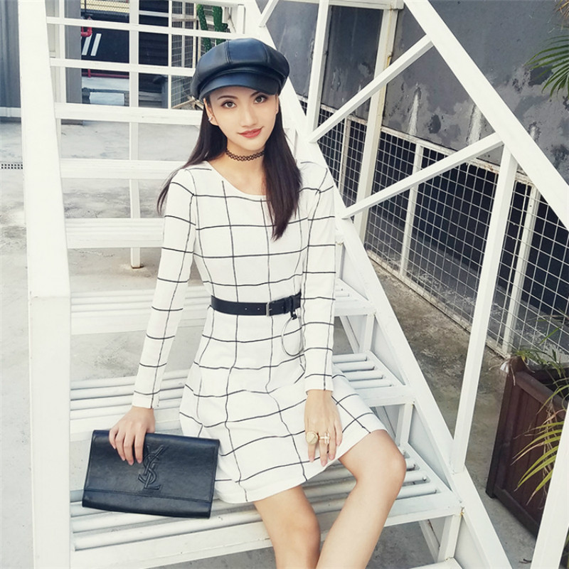 2579eb7dfe spring knitted dress women A line black and white plaid grid loose large  size long-sleeved knit dress women party dresses