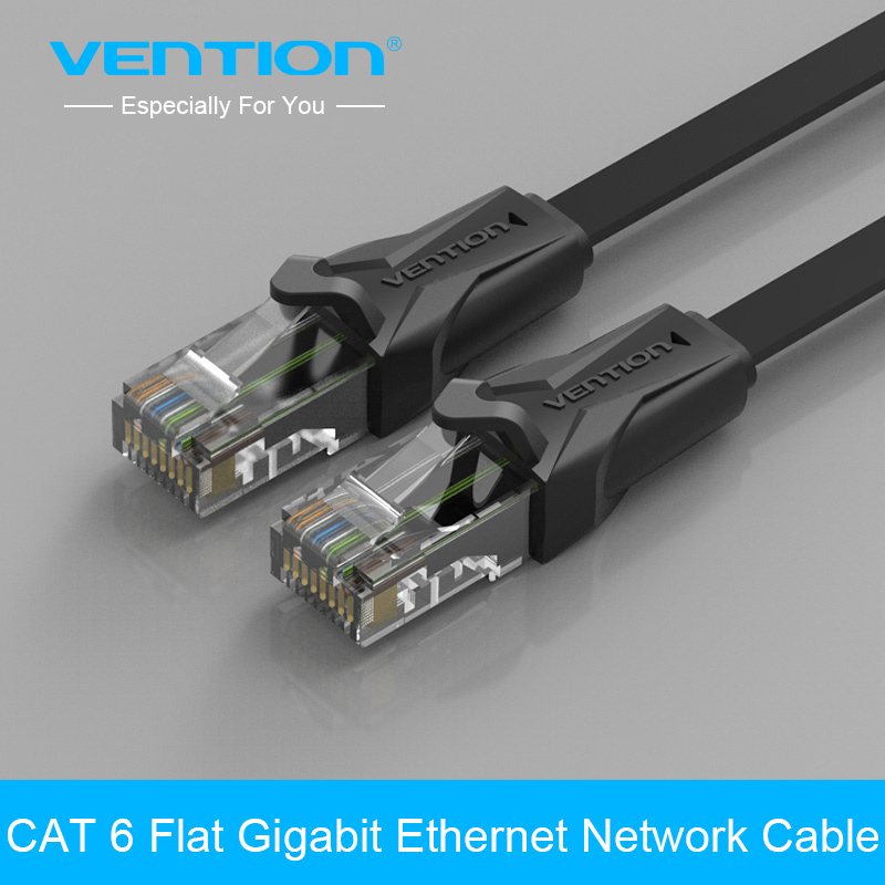 Vention High Speed UTP CAT 6 Flat Gigabit Ethernet Network Cable RJ45 Patch LAN Cord 1/2/3/5/8/10/15/20/25m for PC Laptop Router vention usb 3 0 gigabit ethernet rj45 сетевой адаптер