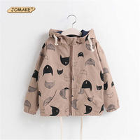 Boys Girls Hooded Jackets 2017 Spring New Kids Costumes Children Cotton Cartoon Printed Trench Coats Fashion