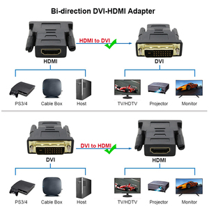 Image 4 - Адаптер кабель 1080P DVI 24 + 1 к HDMI, позолоченный штекер «Папа мама», кабель HDMI DVI, конвертер для HDTV, проектора, монитора