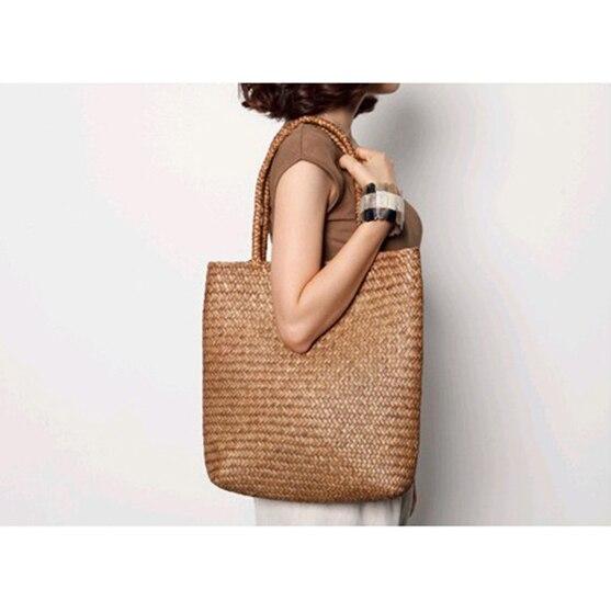 2016 New Beach Bag for Summer Big Straw Bags Handmade Woven Tote Women Travel Handbags Designer Vintage Shopping Hand Bags