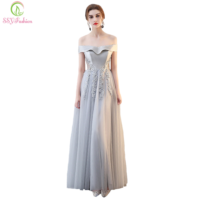 SSYFashion New Evening Dress The Banquet Elegant Simple Grey Satin Lace  Appliques Floor-length Party Formal Gown Custom Made 9ee4b842ce85