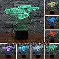 Envío libre de la decoración 3D Nave del Acorazado ilusión LED bombilla lámpara de Mesa Lámpara de noche Dormitorio de La Lámpara Niño Niños Hombre Regalo de La Familia