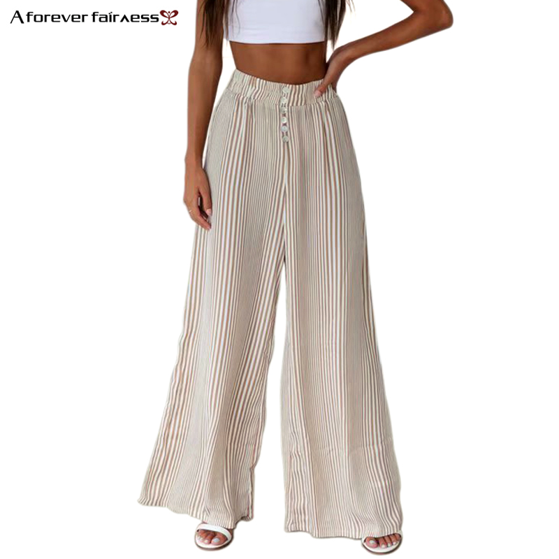A Forever Summer Women   Pant   Casual Style Elastic Waist Striped long Loose   Wide     Leg     Pant   Fashion Trousers M-1139