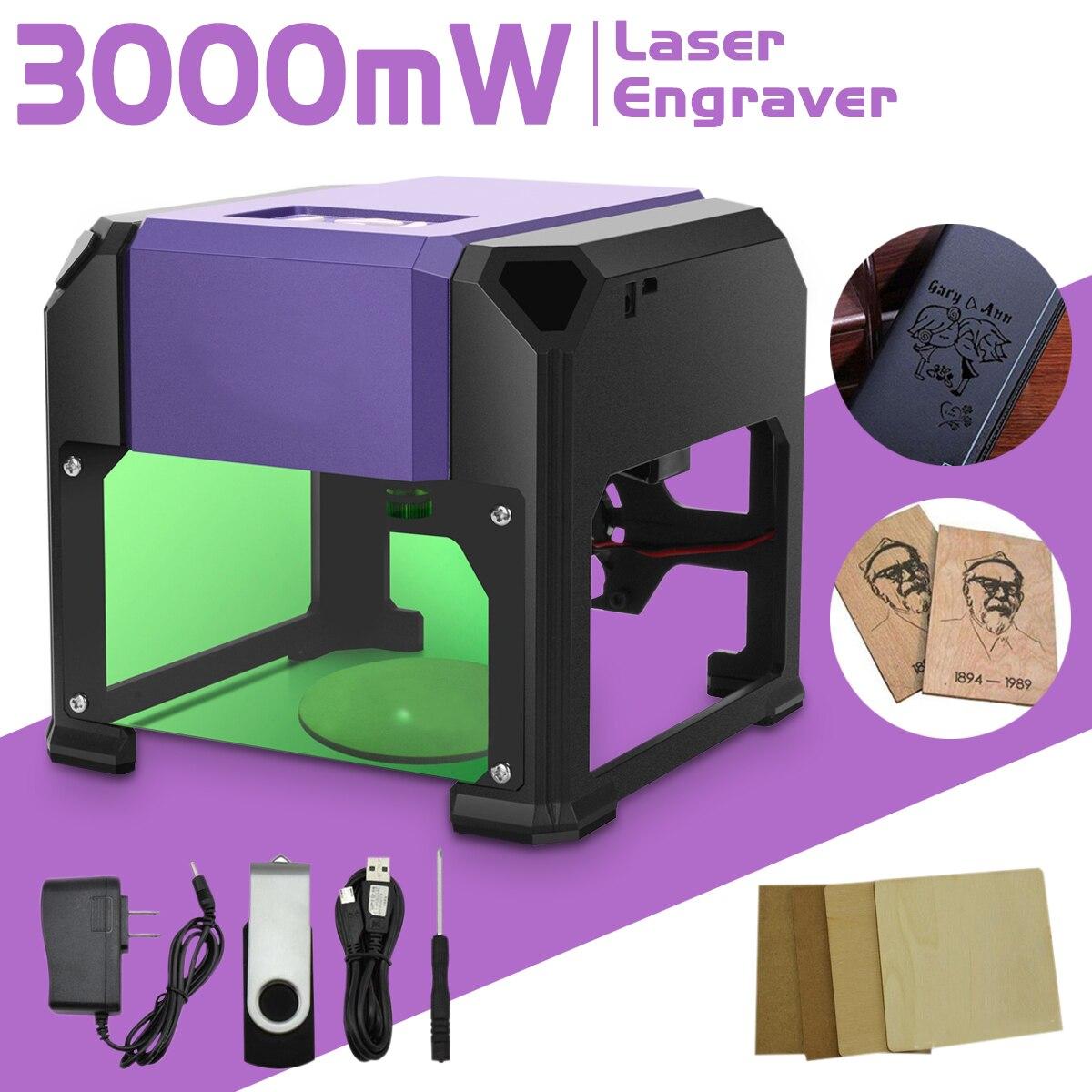 3000 mw USB De Bureau Laser Graveur Machine DIY Logo Marque Imprimante Cutter CNC Laser Sculpture Machine 80x80mm gamme de gravure