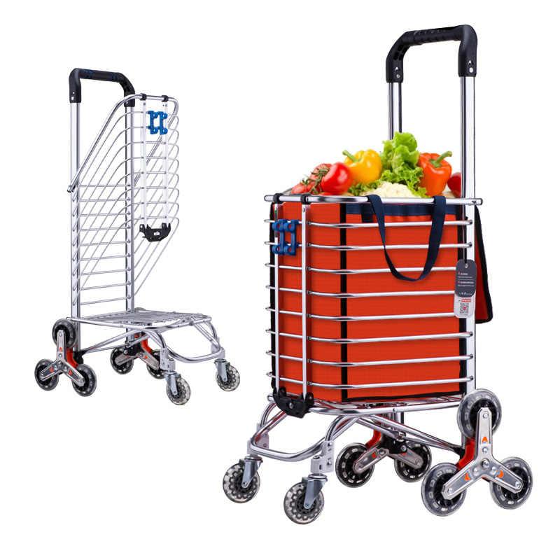 c32f8c8bb526 Foldable Aluminum Alloy Shopping Cart Portable Climbing Trolley ...