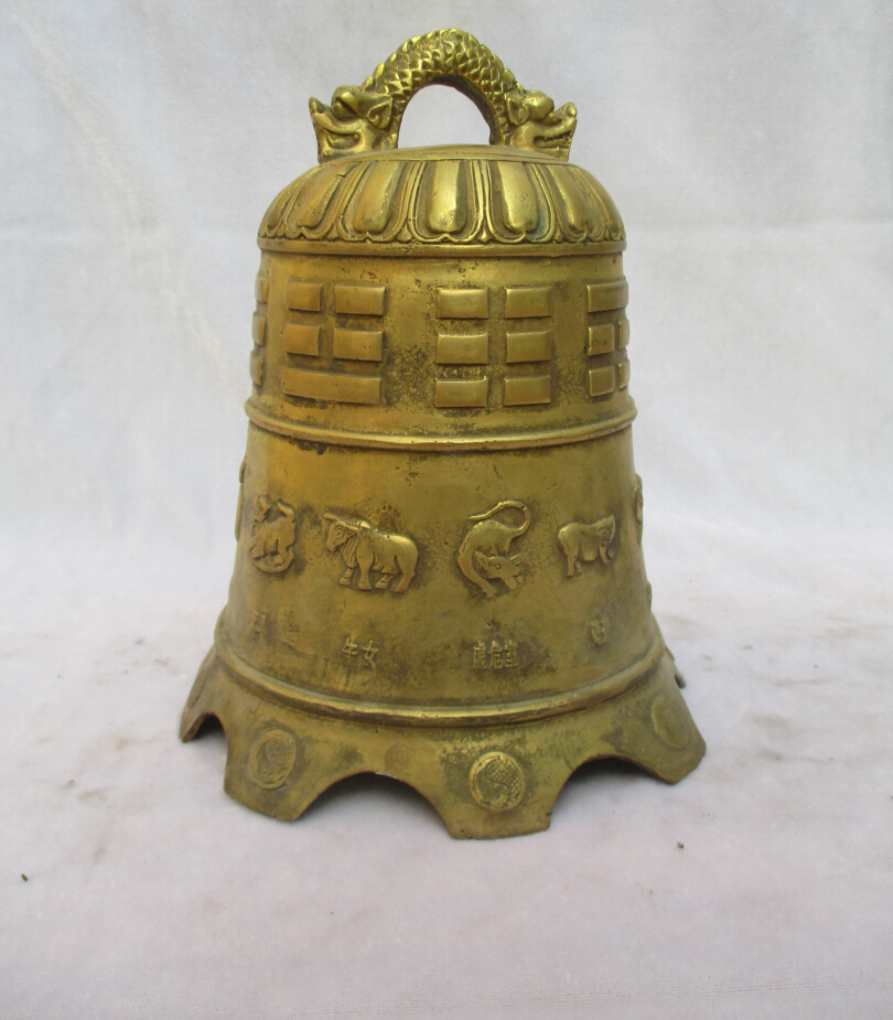 Collectible Tibet Brass Carved 12 animals Buddhism Bell Sculpture /Antique Dragon Bell From Tibet Temple