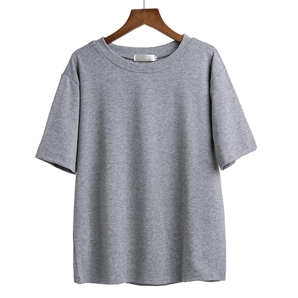 2019 Fashion Women's   T  -  shirts   Casual Summer tshirts Cotton Women O Neck Solid Black /White/Gray   t     shirt   M-XXL Plus Size