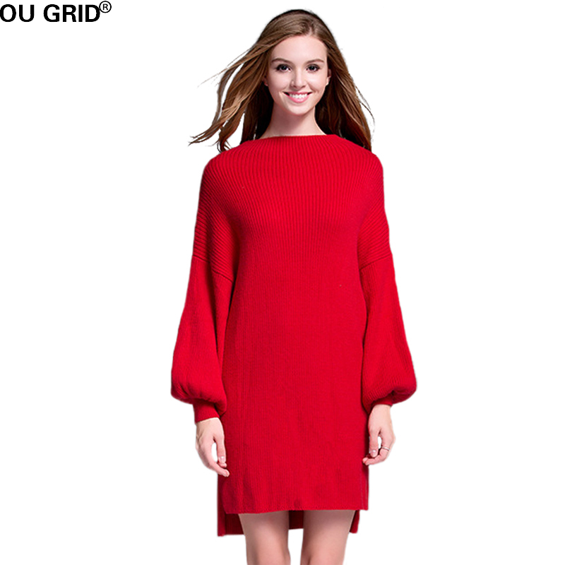Red Knitted Sweater Dress Plus Size 2017 Winter Autumn Womens Long Lantern Sleeve Asymmetrical Casual Dress New Arrival