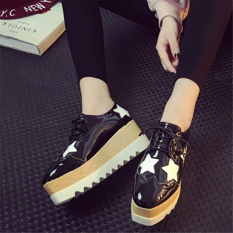 30b55289e1fc Luxury brand woman gold shoes platform shoes creepers japanned leather  woman shiny flats star designer espadrilles brogue shoes-in Women s Flats  from Shoes ...