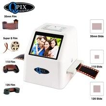 """De alta resolución 22 MP 110 135 126KPK Super 8 negativo escáner de diapositivas de 35mm escáner de película de cine Digital convertidor 2,4 """"LCD"""