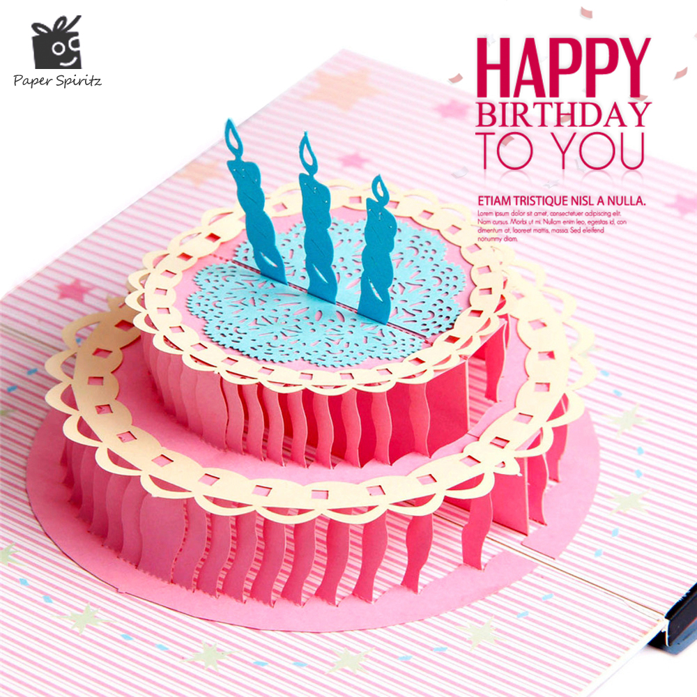 Aliexpress Com Buy Home Utility Gift Birthday Gift: Happy Birthday Postcard Greeting Gift Cards Blank Paper 3D