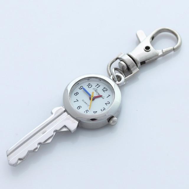 Cute Lovely Fashion Brand New Fashion Crystal KEY Style Pocket Pendant Key Ring Chain Quartz Dress Watch with Gift Bag GL59K