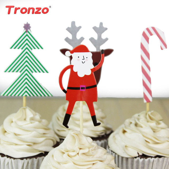 tronzo santa claus cake topper 1024 pcs christmas cake decorations tree frozen snowflake cupcake