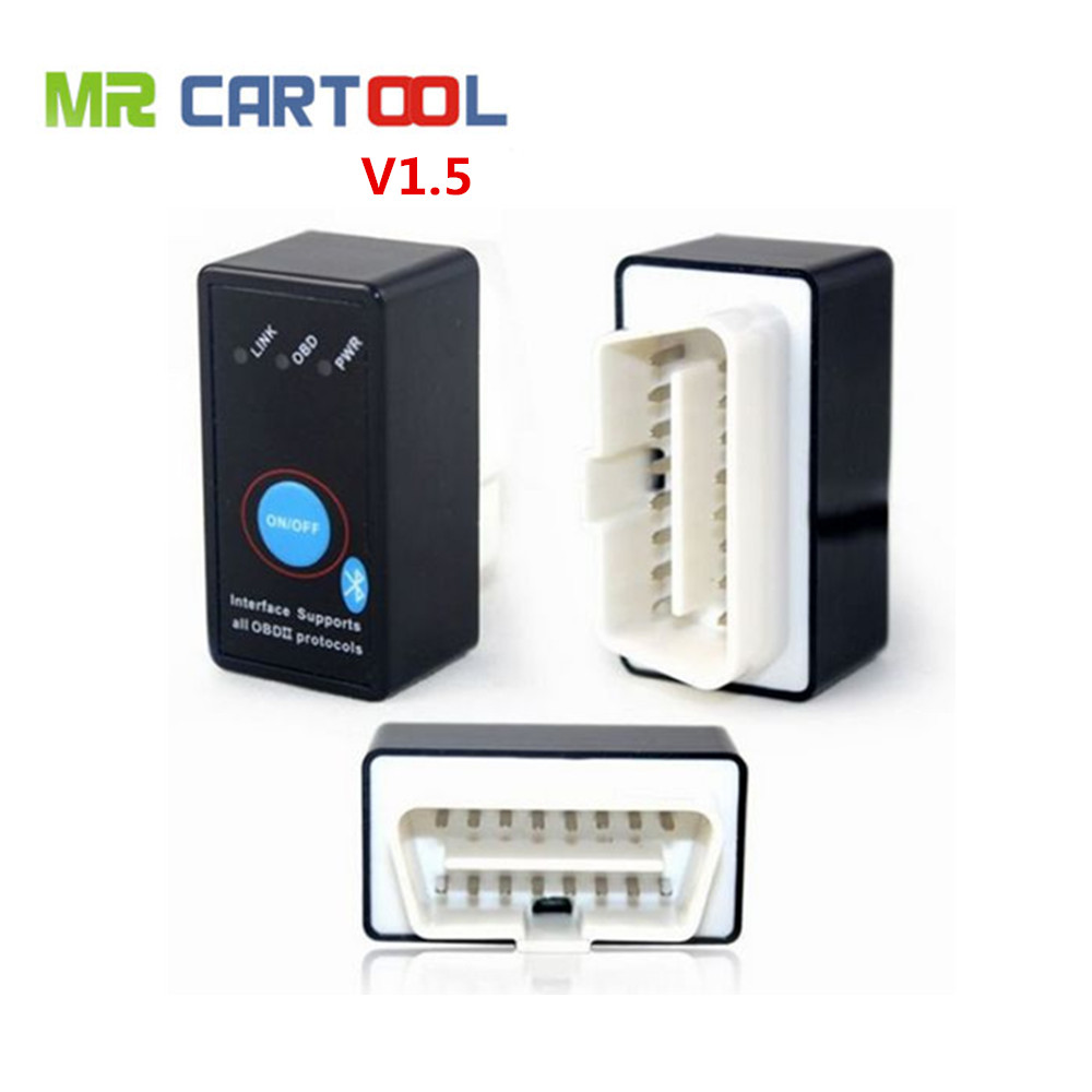 Super Bluetooth ELM327 V1.5 OBD2 OBD II CAN-BUS Diagnostic Car Scanner Tool + Switch Works on Android Symbian Windows