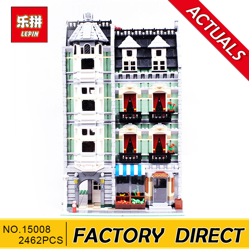 Lepin 15008 15008B(with light) 2462Pcs City Street Green Grocer Model Building Kits Blocks Bricks Compatible Educational toys dhl lepin15008 2462pcs city street green grocer model building kits blocks bricks compatible educational toy 10185 children gift