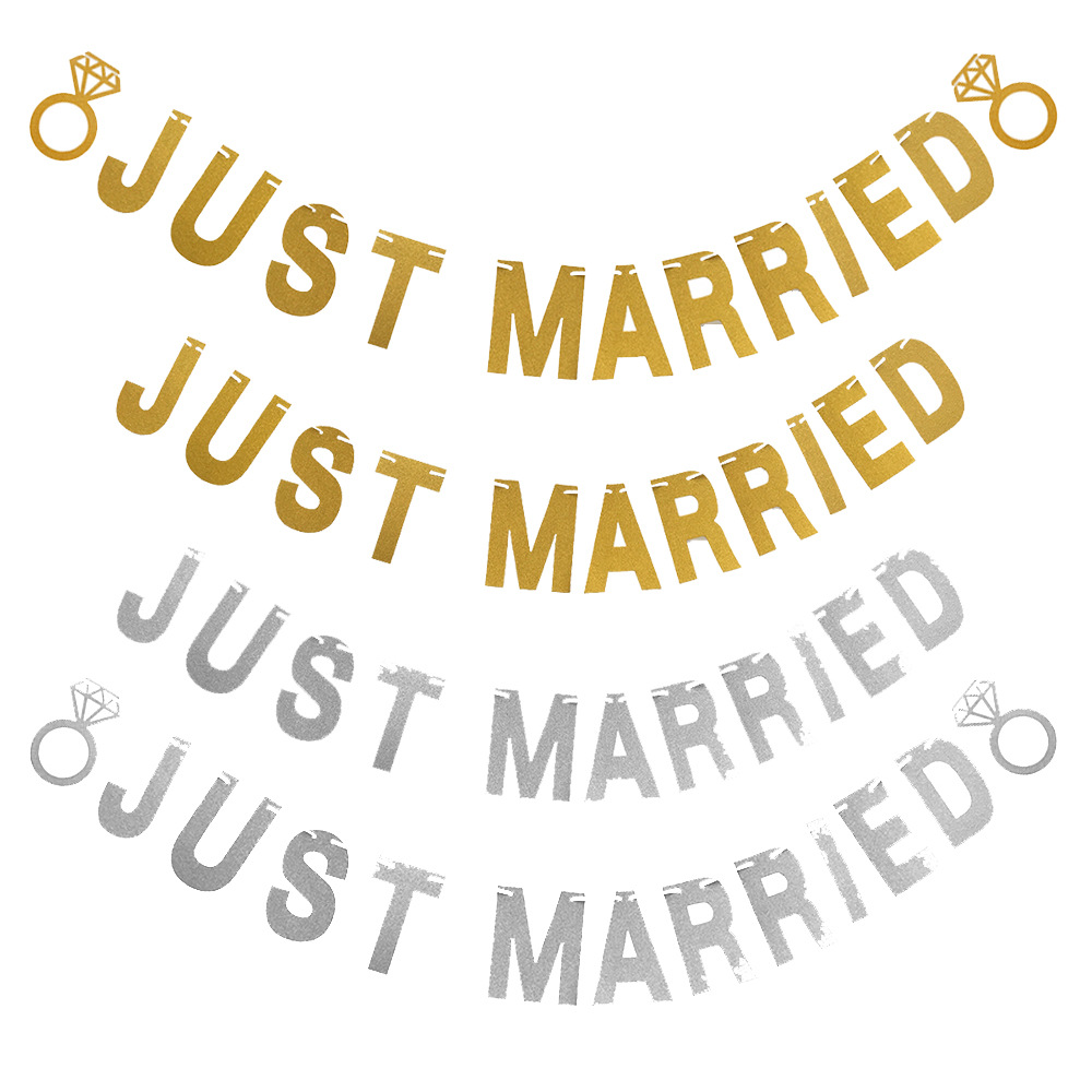 5afa4b777c6 US $2.29 |Gold Silver Glitter Just Married Banner Garland Wedding Signs  Bridal Shower Engagement Wedding Party Hanging Decoration Supplies-in Party  ...