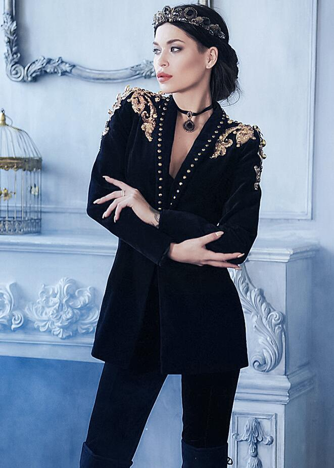 Women Embroider Suit Black Velvet Long Sleeves Formal Warm Coat Jacket