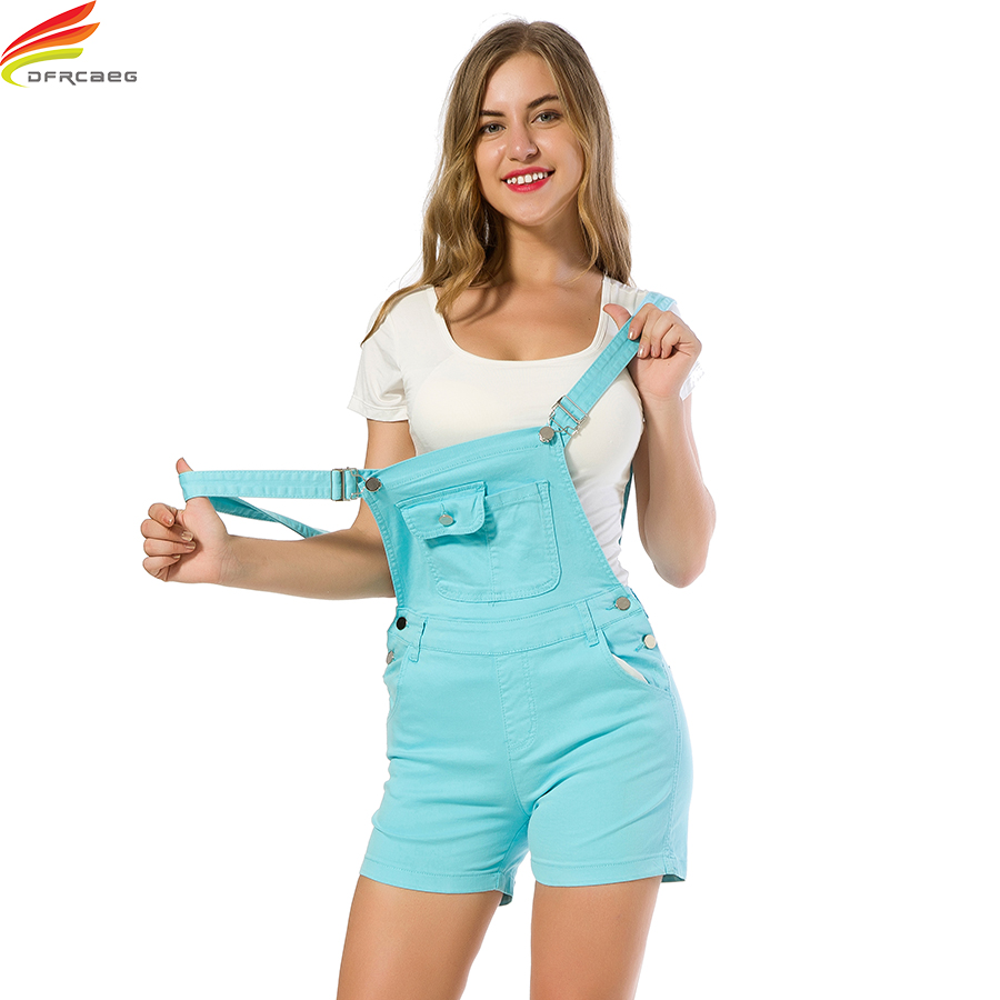 a57d1d86d36 Women Jumpsuit Denim Overalls 2018 Summer Jumpsuits 4 Colors Rompers Casual  Strap Elegant Pockets Shorts Jeans Overall Playsuits-in Rompers from Women s  ...