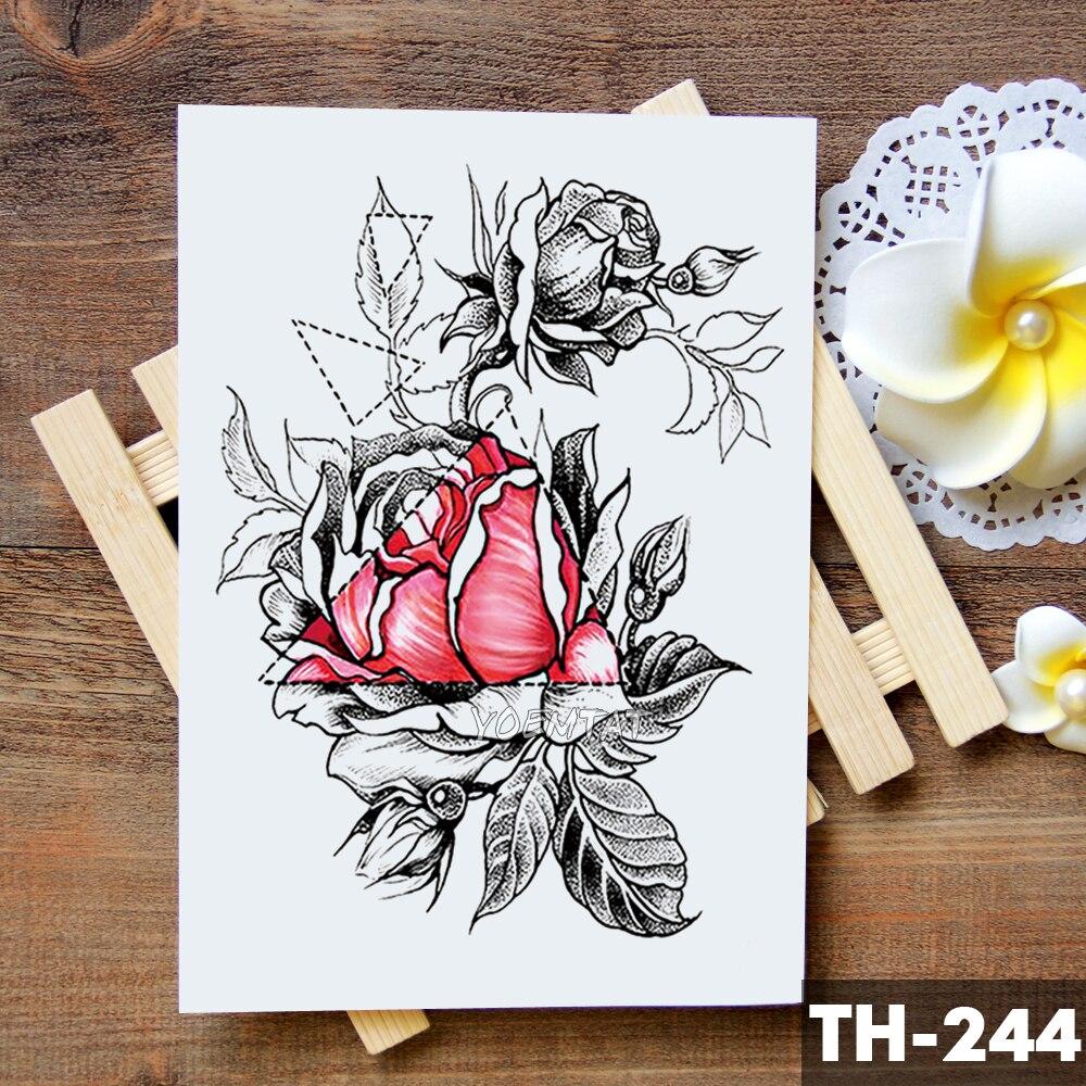 Sketch Flower Blossom Peony Rose Waterproof Temporary Tattoo Sticker Black Tattoos Body Art Arm Hand Girl Women Fake Tatoo 2