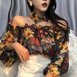 JOYINPARTY недавно сексуальная Slash шеи с плеча Blusas 2018 сезон: весна–лето мода цветы Для женщин рубашки с длинным рукавом женский блузка