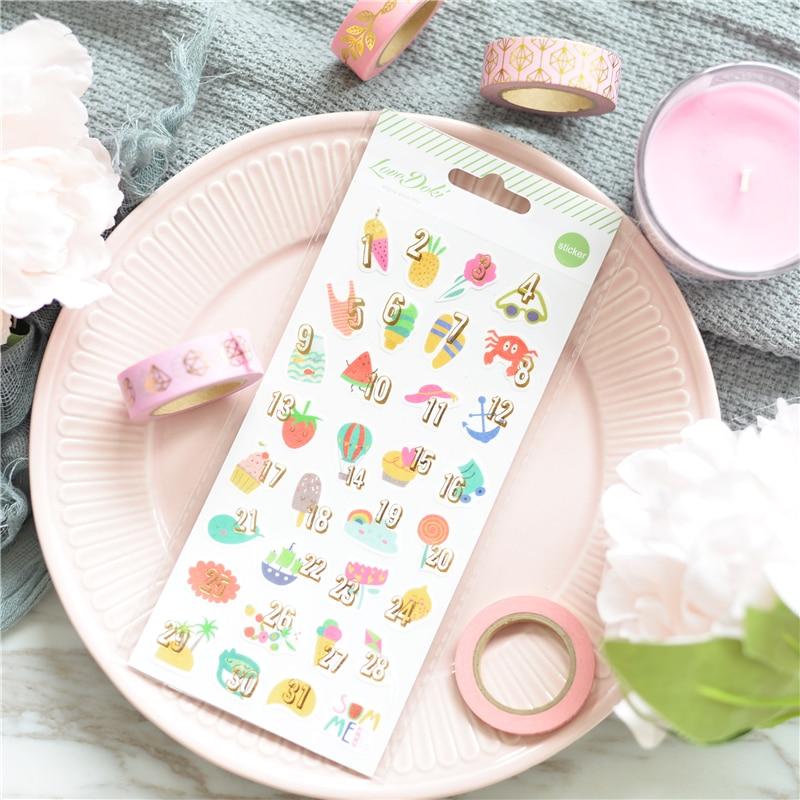 Lovedoki Summer Day Sticker Memo Bullet Journal Stickers Scrapbooking Cute Diary Decorative Stickers Stationery School Supplies
