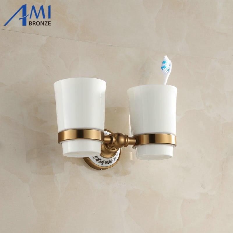 410AAP Series Aluminum Antique & Porcelain Base Cup & Tumbler Toothbrush Holder 2 Cups holder  Bathroom Accessories quadral argentum 410 base black