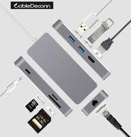 Typ-usb c thunderbolt 3 dock hdmi rj45 ethernet hub Adapter Wieloportowy kabel usb3.0 usb c opłata tf karty sd Dla macbook pro 2017